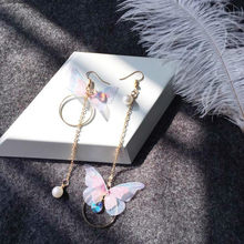 2019 new jewelry retro asymmetric butterfly alloy earrings long paragraph wings earrings gift wholesale(China)