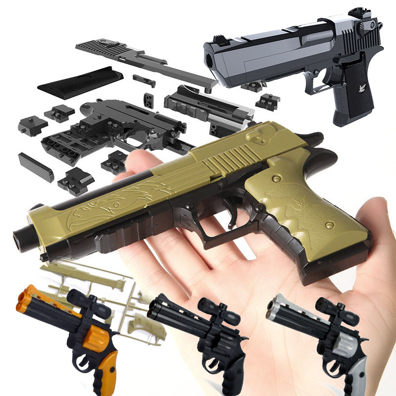 With Bullet DIY Building Blocks Toy Gun  Assembly Outdoor Toy  Educational Toy Model  Puzzle  Spring Beretta Revolver Plastic