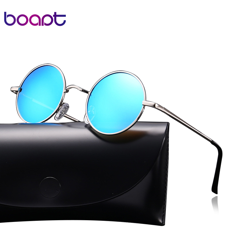 [boapt] Vintage Unisex Glasses Brand Designer Polarized Coating Mirror Women Sunglasses Round Male Eyewear Spectacles For Men