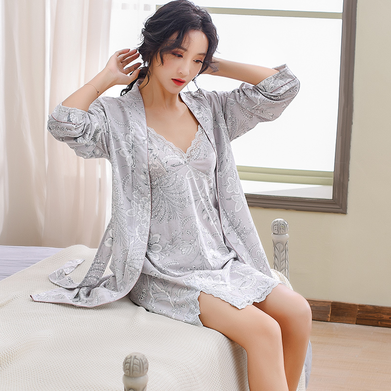 Floral V Neck Women s Gown Set Two Piece Long Sleeve Spring Woman Sleepwear Summer 2019