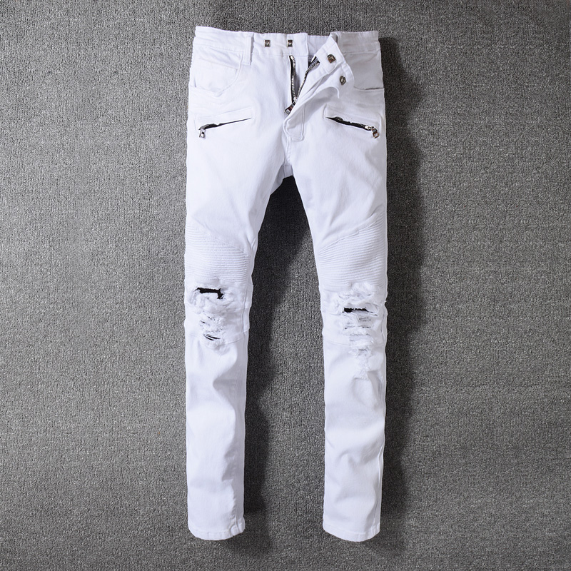 2018 Fashion Men's Jeans High Street White Color Skinny Fit Elastic Ripped Jeans Stretch Punk Pants Men Brand Biker Jeans Homme men elastic foot drawstring jeans