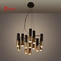delightfull Ike black and gold metal aluminum tube chandelier lamp Italy modern design suspension light for dinning restaurant
