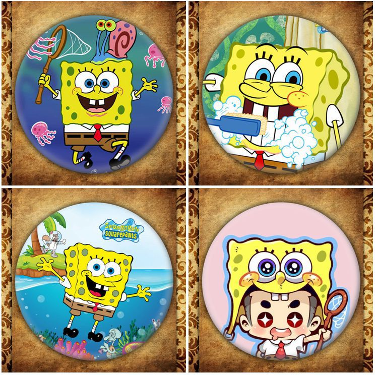 American Anime SpongeBob SquarePants Display Badge Fashion Cartoon Figure Patrick Star Brooches Pin Jewelry Accessories