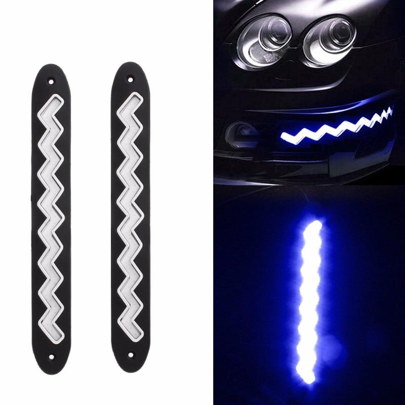 1 пара cob из 40 LED гибкая дневного света пульсации Водоустойчивый управляя Лампа автомобиль легкие Источник белый/голубой лед/синий