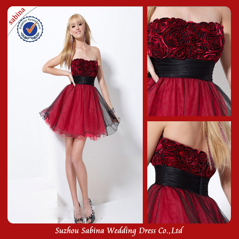 Red And Black Gown: P0718 Red Rose Black And Red Short Puffy Prom Dress With