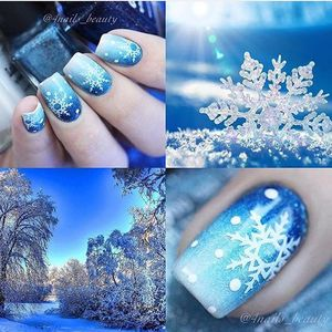 Image 2 - Christmas Snowflake Snow Styles Large 3D Nail Art Nail Stickers Decal Tips White Xmas Reindeer Feather Self adhesive