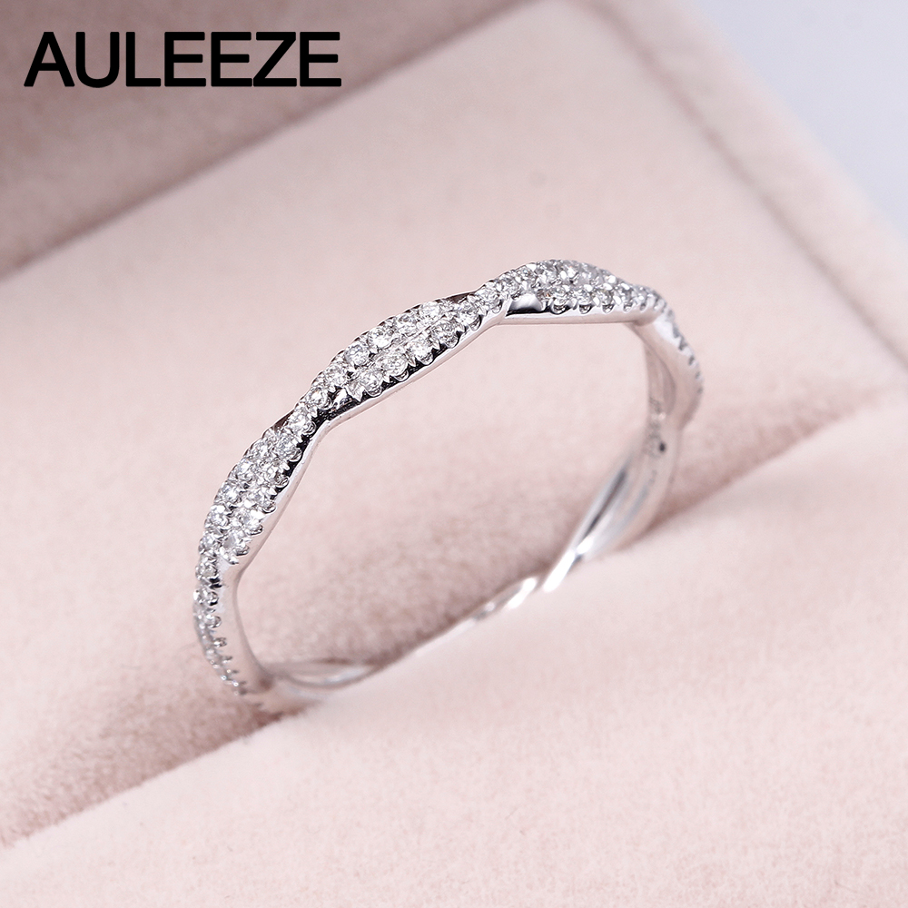 AULEEZE Pave VS Natural Real Diamond Ring Platinum 950 Wedding Twist Band For Women Lady Elegant Engagement Ring Fine Jewelry