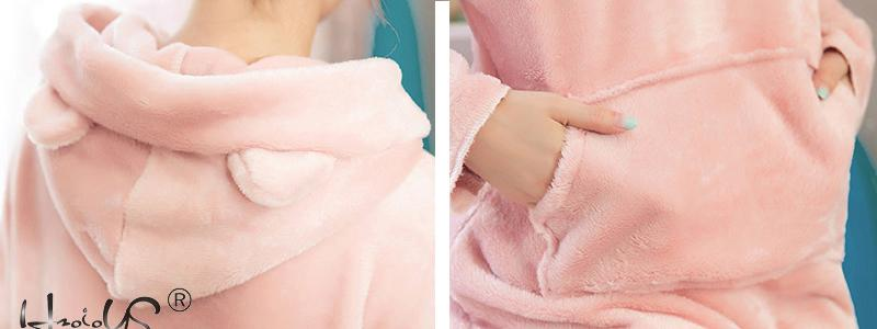 Image 5 - Pink Flannel Thick Sleepwear Women Winter 2 Piece Set Pajamas Set Hooded Cartoon Pyjamas With Pocket Female Casual Home Clothing-in Pajama Sets from Underwear & Sleepwears
