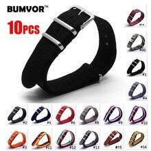 10PCS Canvas Fabric Nylon Watch Straps Bands Black Army Green Brown Gray  Replace Wristwatch bracelet Width16/ 18mm 20/ 22/24mm