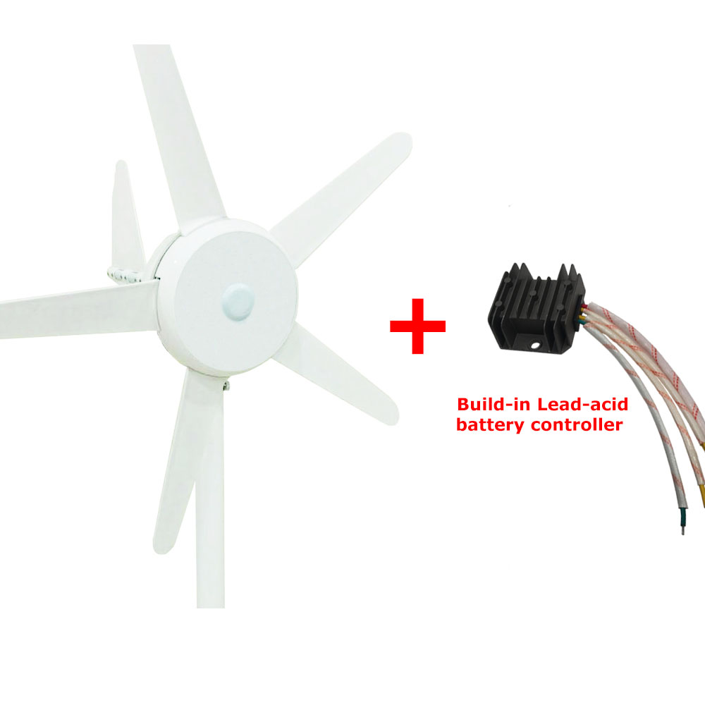 M-300 5 blades 12V 24V DC output small wind turbine generator with built-in controller or lithium battery for wind system with gear 40w 50w hand cranked generator dc small generator 12v 24v permanent magnet dc motor dual use