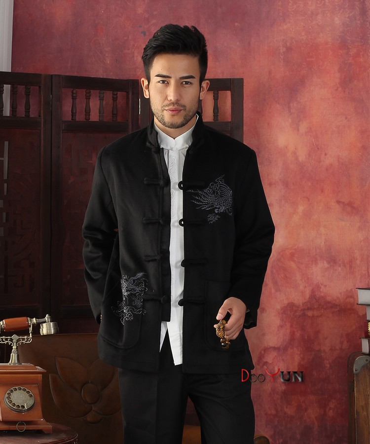 Jackets & Coats Jackets Winter Hottest Gold Men Velour Thick Overcoat Chinese Traditional Embroidery Jacket Tang Suit Size M L Xl Xxl Xxxl