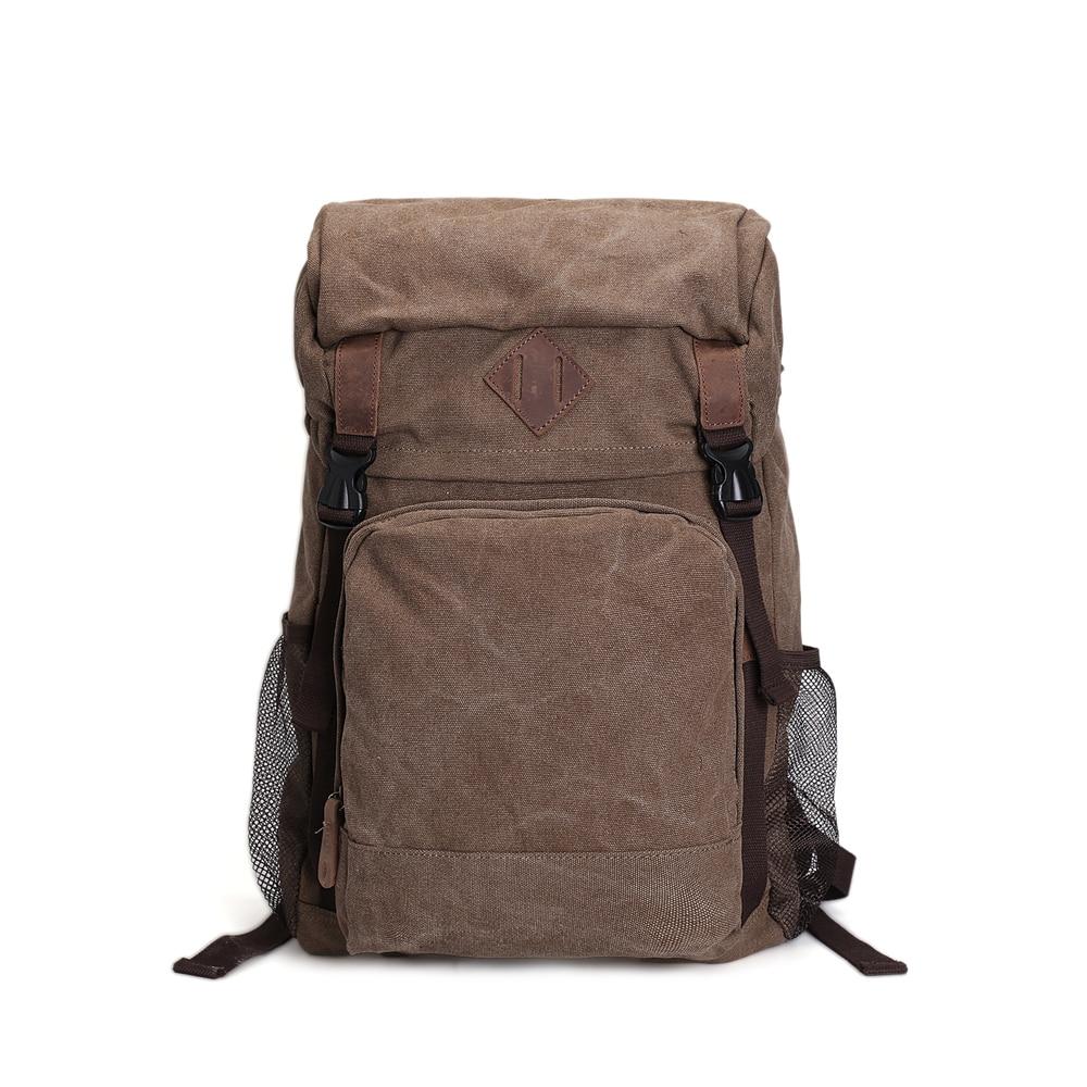 ROCKCOW Vintage Leather Military Canvas Backpack Men's backpack School Bag Drawstring Backpack AF16 rockcow handcrafted vintage style top grain leather backpack travel backpack unisex backpack 8904