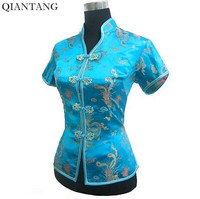 New Arrival Light Blue Female V Neck Shirt Top Chinese Classic Ladies Satin Blouse Size S