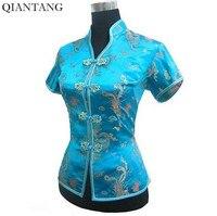 새로운 도착 라이트 블루 여성 V 넥 셔츠 최고 중국어 클래식 여성 새틴 블라우스 크기 Sml XL XXL XXXL Mujer Camisa JY044-4