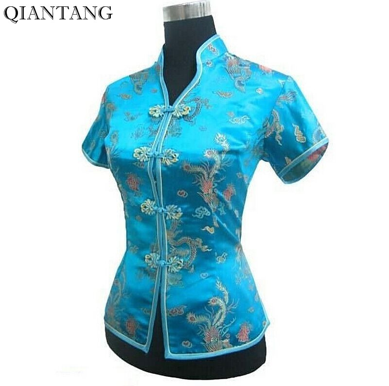 New Arrival Light Blue Female V-Neck Shirt top Chinese