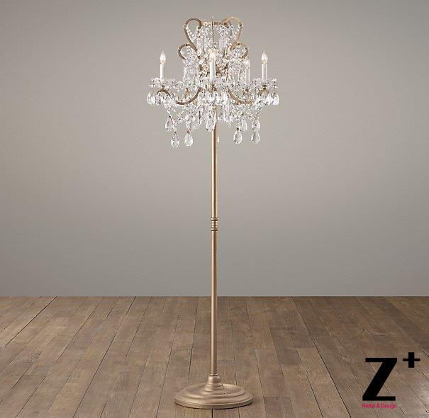 Replica item Manor court lustre crystal 5-arm floor lamp vintage white aged pewter aged gold free shipping