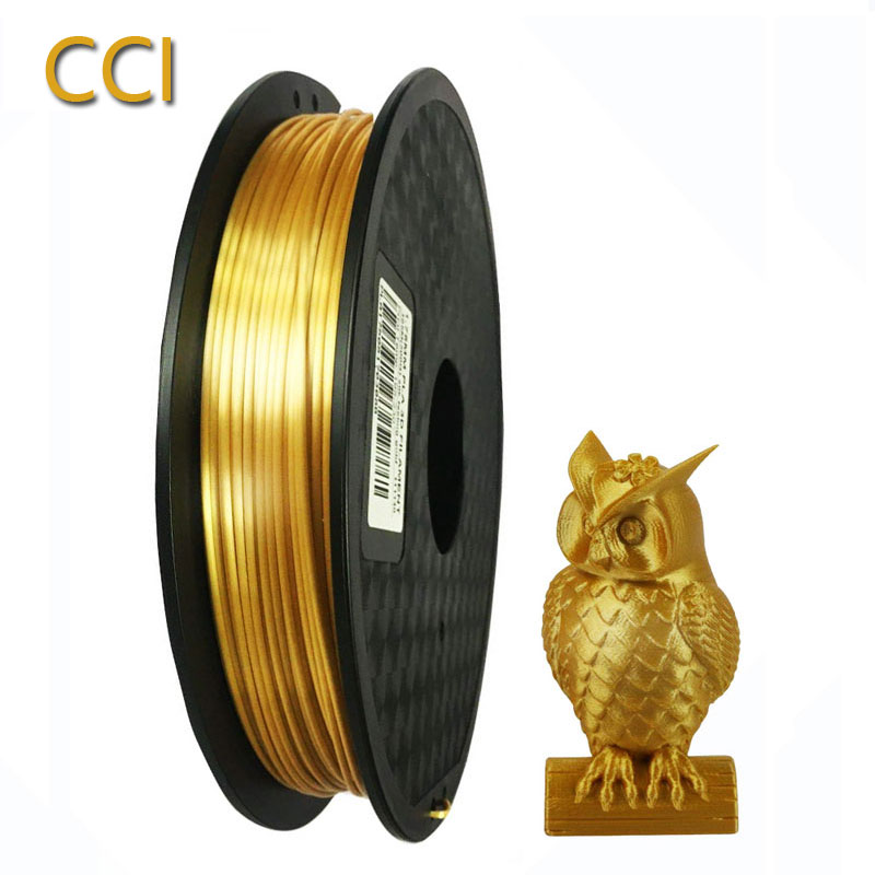 Silk pla <font><b>3D</b></font> printer <font><b>filament</b></font> 1.75mm 0.5kg shine silky gold 500g <font><b>3d</b></font> <font><b>pen</b></font> printing <font><b>filament</b></font> rich luster metal metallic material CCI image