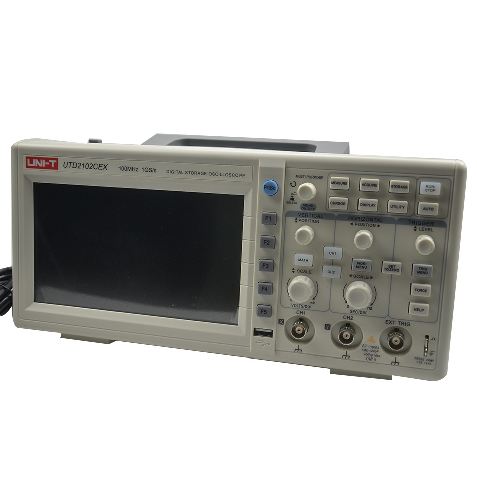 High Accuracy UNI T UTD2052CEX UTD2102CEX Digital Storage Oscilloscopes 2 Channels 100 200MHZ 1Gs a Scopemeter
