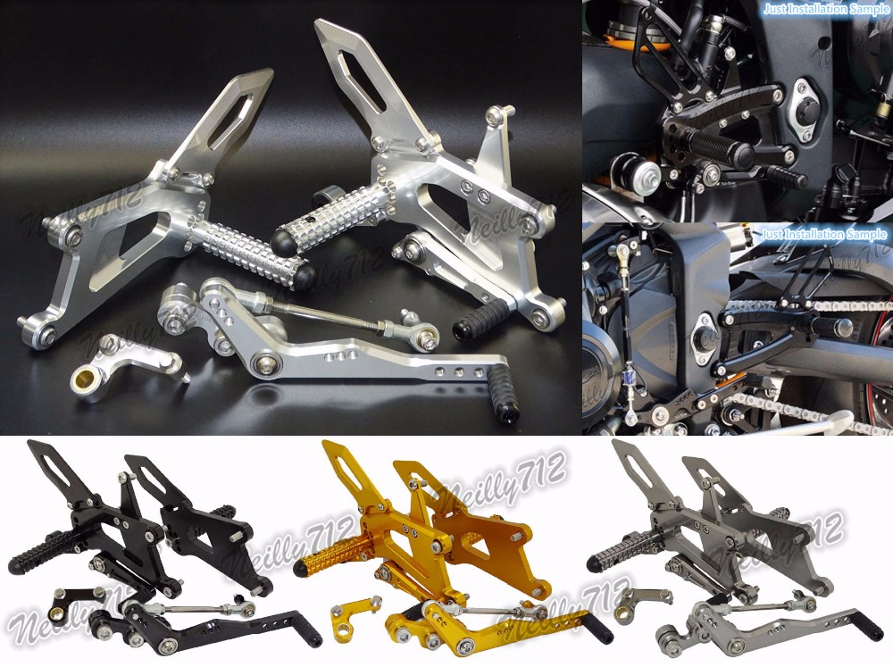 Motorcycle CNC Aluminum Racing Rearset Rear Sets Footrests Foot Rest Pegs For Triumph Daytona 676 675R 2013 2014 2015 2016 cnc racing rearset adjustable rear sets foot pegs fit for ducati streetfighter 848 1098