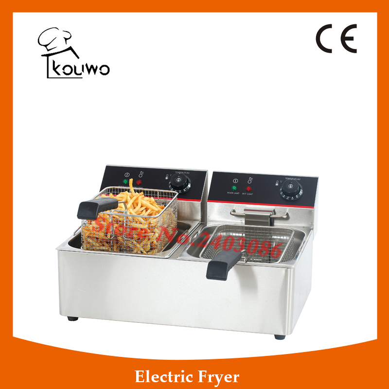 Stainless Steel table counter top food processing machine 6+6L electric double tank chicken potato chips deep Fryer for sale shipule fast food restaurant 30l commercial electric chicken deep fryer commercial potato chips deep fryer frying machine