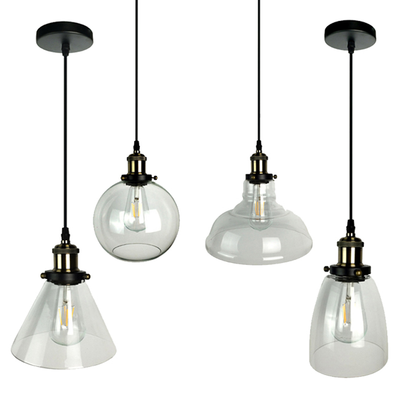 Nordic Vintage E27 Pendant Lights transparent Glass Ball Pendant Lamp Lustre Suspension Kitchen Light Fixture Home Lighting