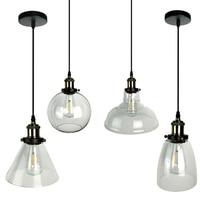 Nordic Vintage E27 Pendant Lights transparent Glass Ball Pendant Lamp Lustre Suspension Kitchen Light Fixture Home Lighting