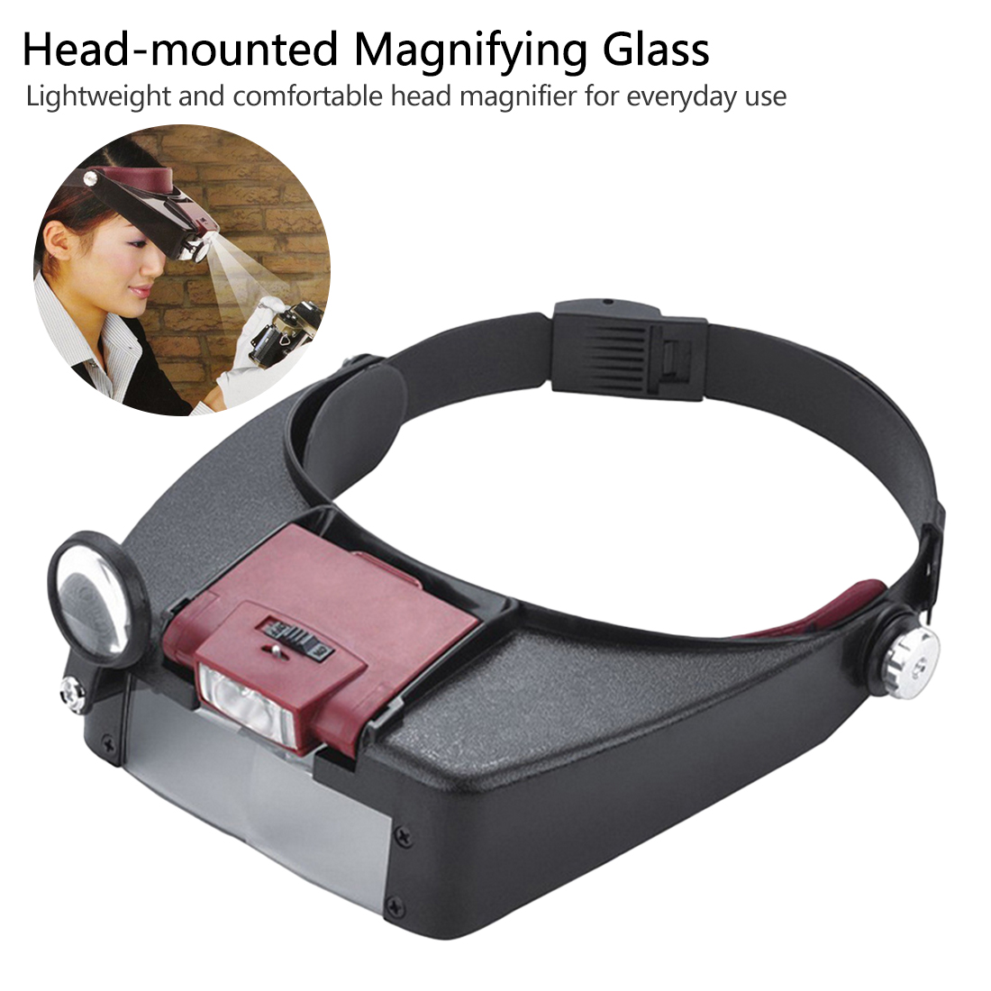 Head Magnifying Glasses With LED Magnifier For Reading Optivisor Magnifying Glass Loupes Jewelry Watch Repair With 2 Led Lights