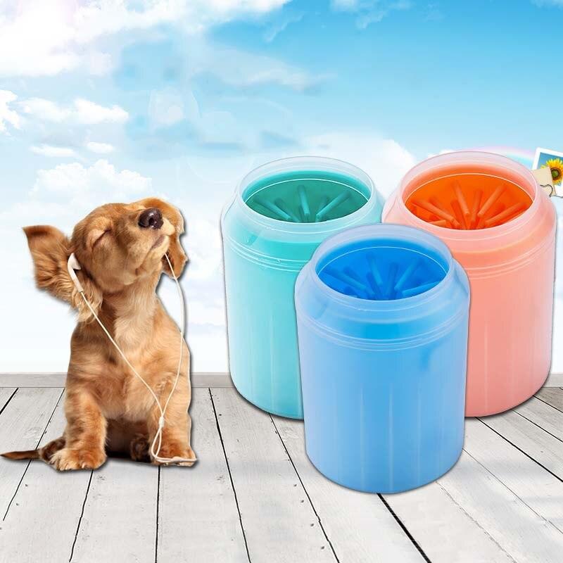 Pata de perro limpiador de silicona suave Pet arandela de pie Copa suave cerdas del cepillo limpio rápidamente limpio patas perro lavar los pies herramienta XS S M