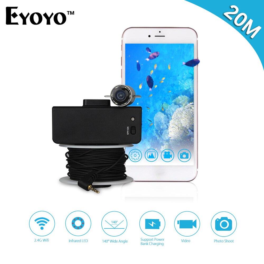 Eyoyo Portable WIFI Sans Fil Fish Finder Caméra Sous-Marine pour la Pêche 20 M Câble Infrarouge IR LED Night Vision Pour IOS & Android
