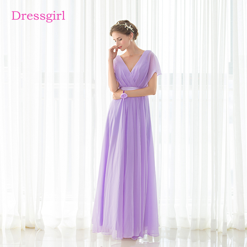 Lavender 2018 Cheap Bridesmaid Dresses Under 50 A-line V-neck Cap Sleeves Floor Length Chiffon Long Wedding Party Dresses