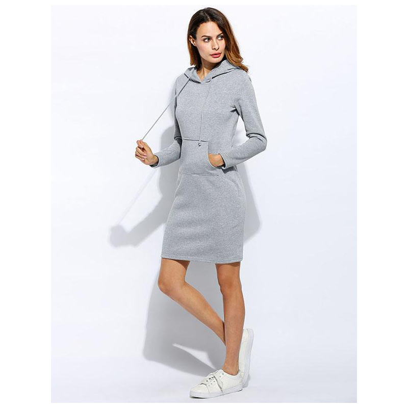 Womens Hooded Sweatshirts Bodycon Mini Dress Solid Hoodie Plain Drawstring Pockets Casual Slim Fitted Dress 6 Colors Spring 2019