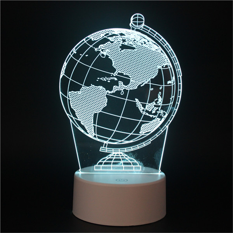 Terrestrial globe LED 3D illusion night light Carousel with touch switch 7colors auto change lamps for student deco table lamp image