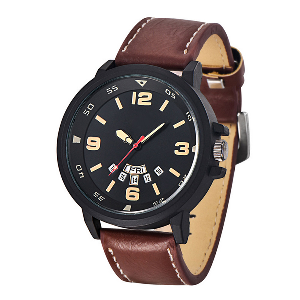 5 Colors Luxury Men Quartz Watch PU Leather Band Watches Military Sport Analog Date Calender Wristwatch