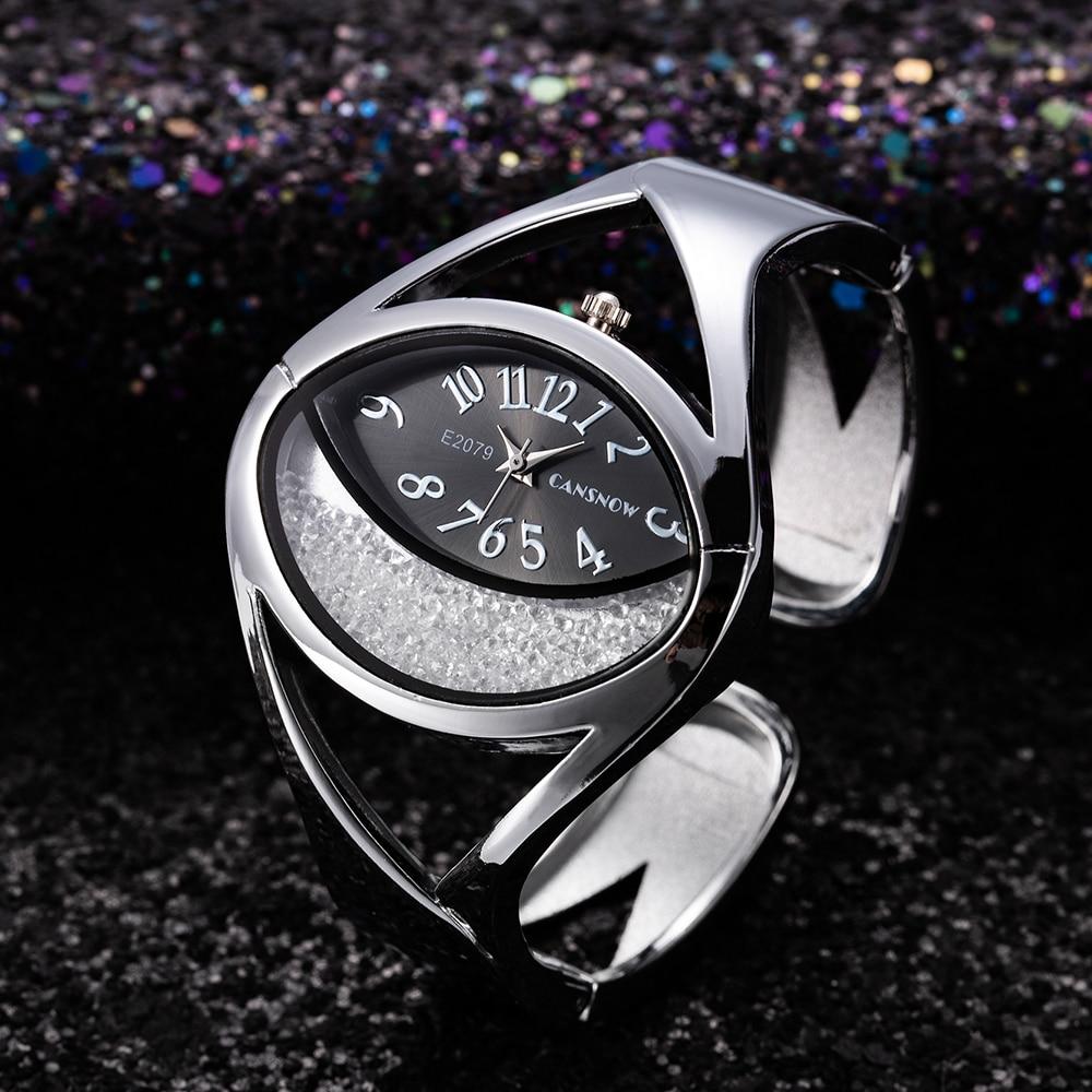 2019 New Stylish Luxury Women Silver White Rhinestone Bangle Watch Creative Ladies Dress Bracelet Clock Relogio Feminino