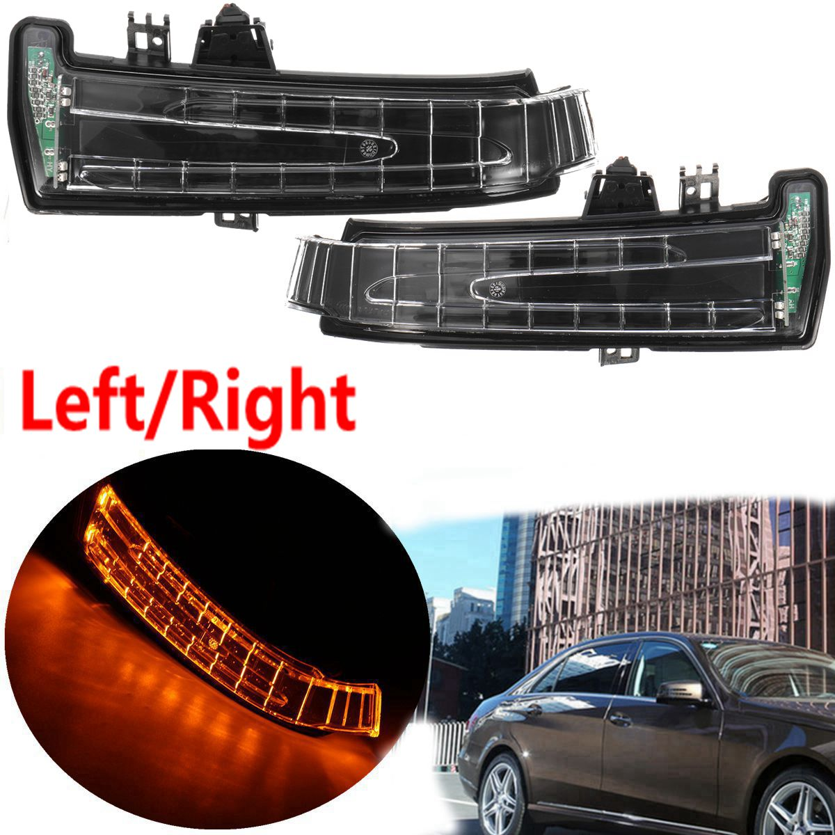 Pair Car Rear View Mirror Indicator Lamp Turn Signal Light Lens For Mercedes W204 W212 W221 2010-2013 1pcs yellow side mirror turn signal light lens for mercedes w204 w212 w221 left side