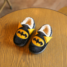 2016 Winter Warm New Children Slippers Cute Cartoon Superman / Batman Design Girls Boys Indoor Shoes Cotton Thicken Kids Slipper