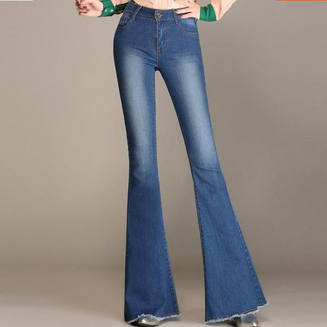 jambes taille nouveau la jeans haute large 2018 stretch femme plus vTXqxdEwn