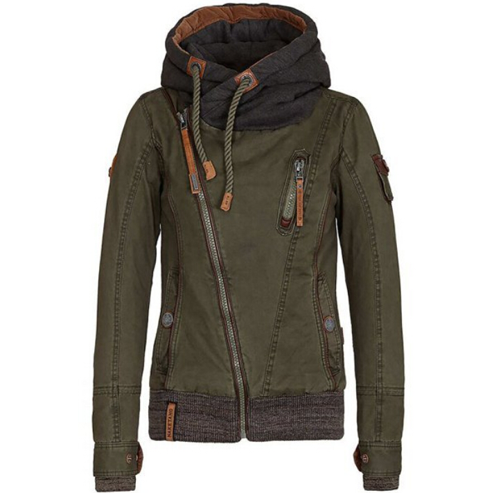 European style new autumn women oblique zipper drawstring hooded Tooling jacket handsome ladies casual wild jacket