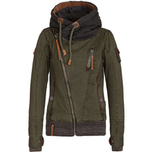 European style new autumn women oblique zipper drawstring hooded Tooling jacket handsome ladies casual wild jacket F3529