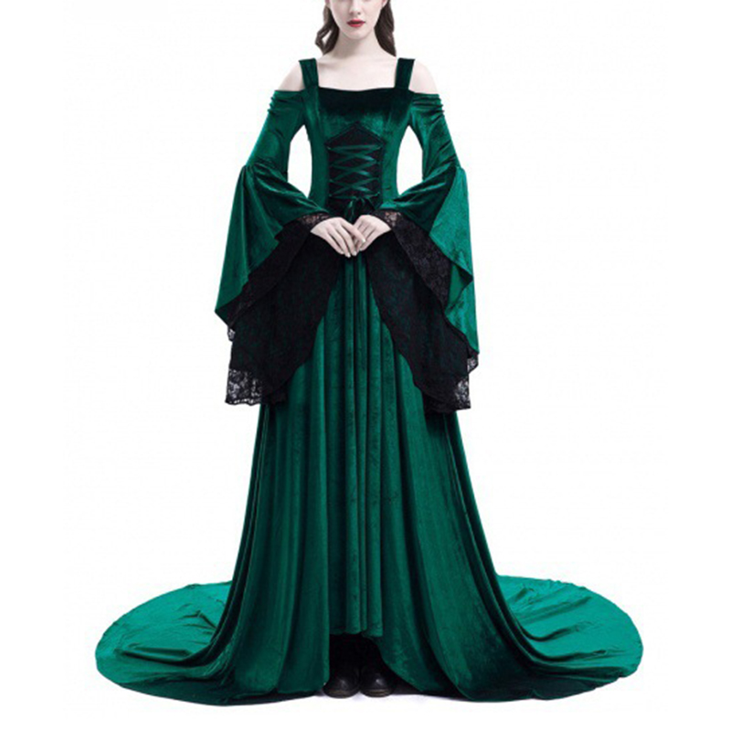 Vintage Renaissance Princess Gothic Dress 2018 Women Vintage Medieval Dress Cosplay Costume Princess Renaissance Gothic Dress