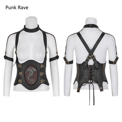 Punk Rave Rock Steampunk Western Dragon Girdle Sexy Vest PU Leather Gothic Cosplay Performance Clothing S216