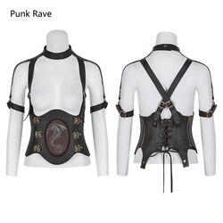 Rave Punk Rock Steampunk occidental dragón faja Sexy chaleco PU cuero gótico vestimenta Cosplay para actuación S216