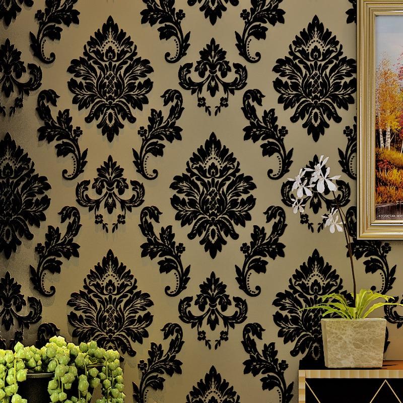 Wallpaper Wall Decor Paper : Popular black velvet wallpaper buy cheap