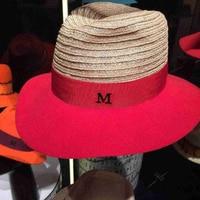 Summer linen splicing wool's hat Sir black metal logo cap euramerican fashion hat red net exclusive sun hat