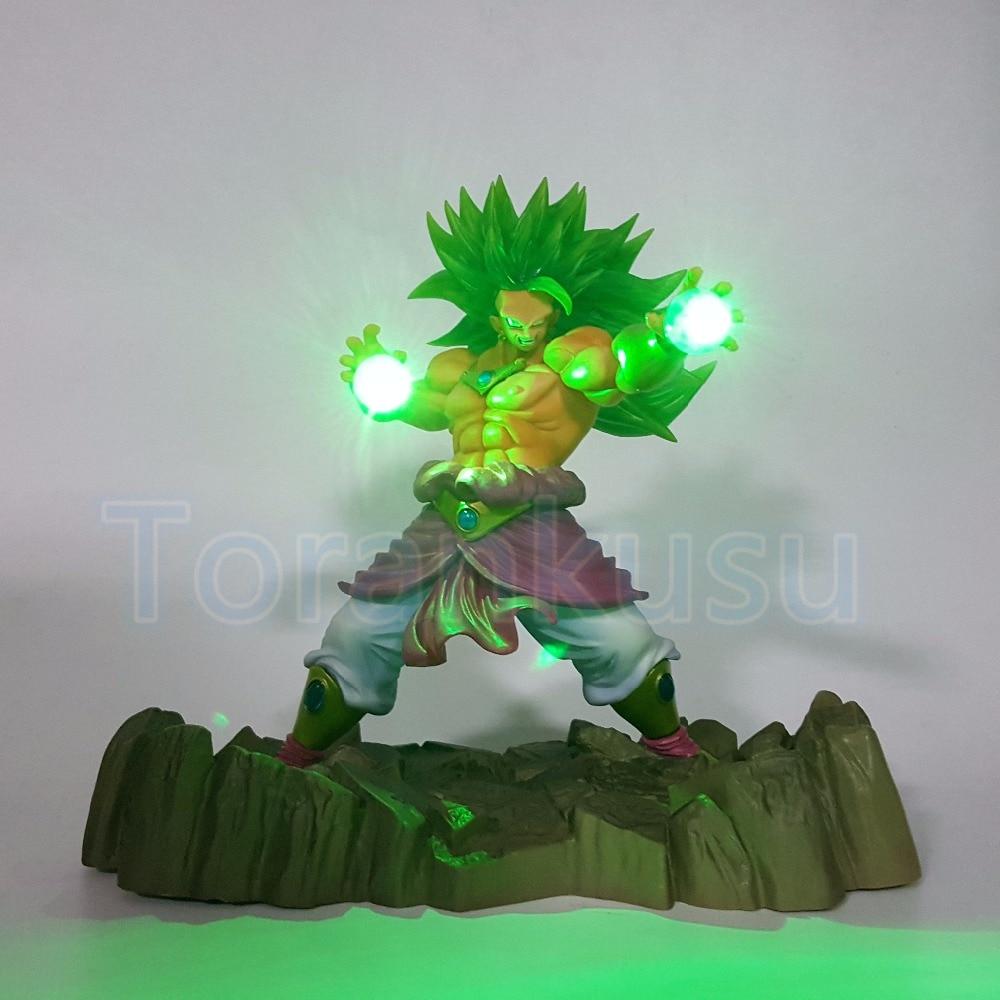 Dragon Ball Z Action Figure Broly Power UP Led Light DIY Display Toy Esferas Del Dragon