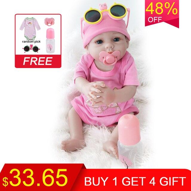 UCanaan 20 Polegada Realista Boneca Reborn Lifelike Handmade Macio silicone renascer baby dolls criança presentes de Natal surpresa brinquedo lol