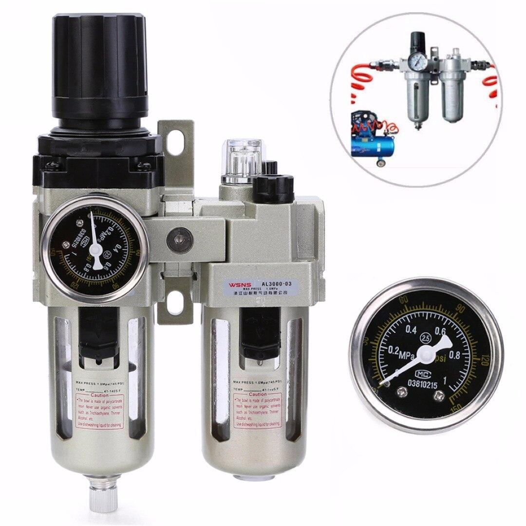 Aluminum Alloy Air Compressor Oil Lubricator Mayitr Water Oil Separator Trap Filter Regulator + Pressor Gauge цена 2017
