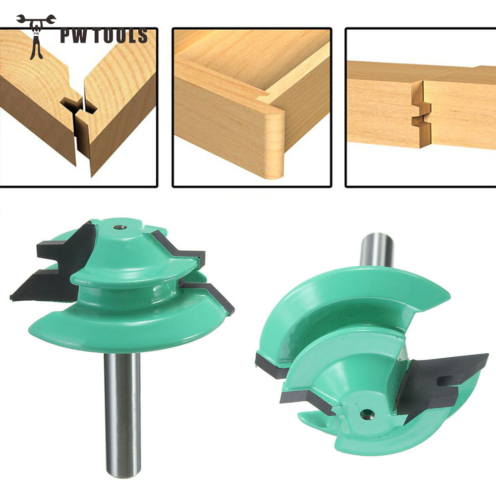 цена на 1PC 45 Degree Lock Miter Router Bit 1-1/2 Diameter 1/4 Shank Green Wood Cutter For Woodworking Drilling Power Tools