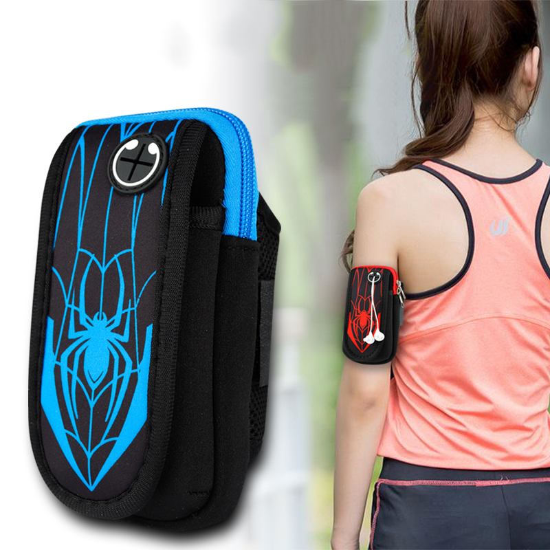 Mobile Phone Accessories Sport Running Arm Bag Case Cover Fitness Armband Waterproof Mobile Phone Holder Spiderman Outdoor Phone Pouch Belt Gym Wristband