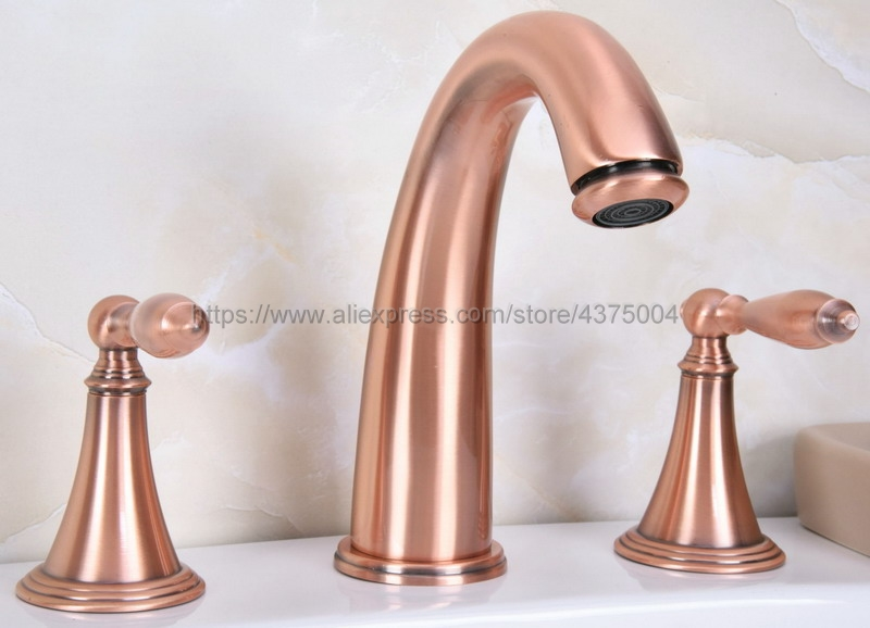 Antique Red Copper 3 Holes Double Handle Bathroom Sink Faucet Bathbasin Bathtub Taps Hot Cold Mixer Water Nrg066